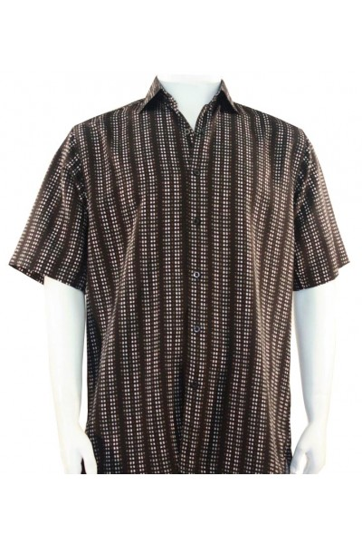 Bassiri S/S Button Down Men's Shirt - Dot Pattern / Brown