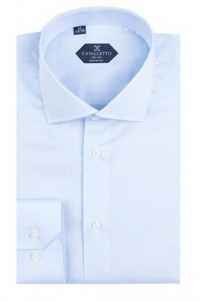 Canaletto Modern Fit Men's Dress Shirt - Made in Italy - Acapulco Blue