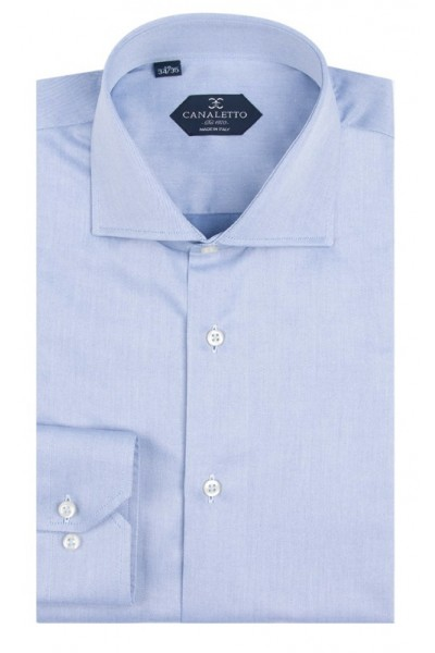 Canaletto Modern Fit Men's Dress Shirt - Made in Italy - Acapulco Med Blue