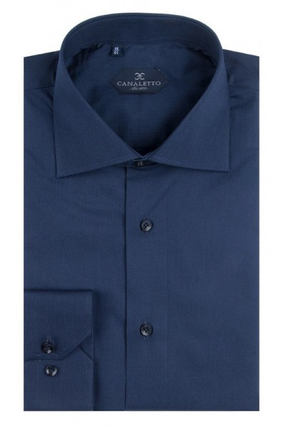 Canaletto Modern Fit Men's Dress Shirt - Made in Italy - Acapulco Dk Blue