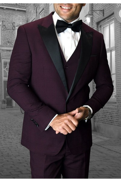 Men's Tux - Tailored Fit - Alberto Burgundy  a