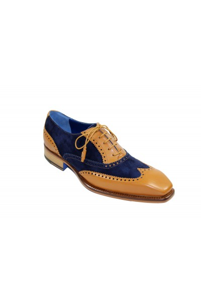 Men's Shoes by Emilio Franco - Camel/Navy