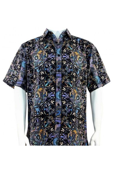 Bassiri S/S Button Down Men's Shirt - Festive Pattern / Multi