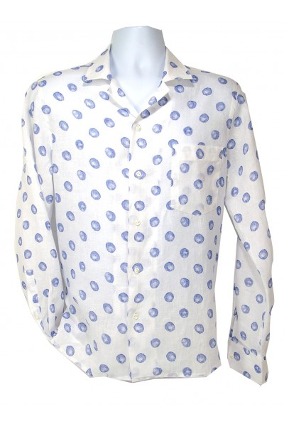 Giovanni Marquez Italian Cotton Shirt - White / Lt Blue Dot