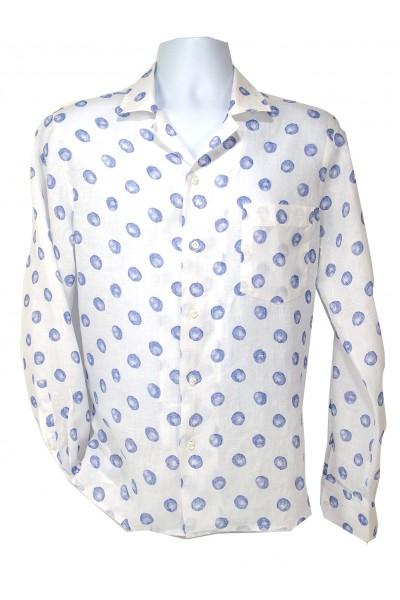 Giovanni Marquez Italian Cotton Shirt - White / Lt Blue Dot
