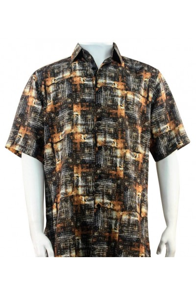 Bassiri S/S Button Down Men's Shirt - Pattern / Copper Multi