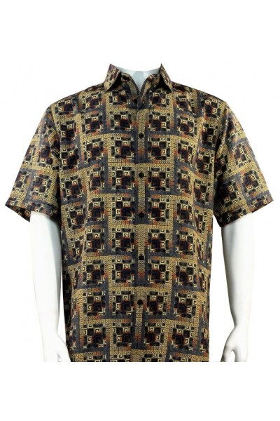 Bassiri S/S Button Down Men's Shirt - Greek Key Blocks / Gold