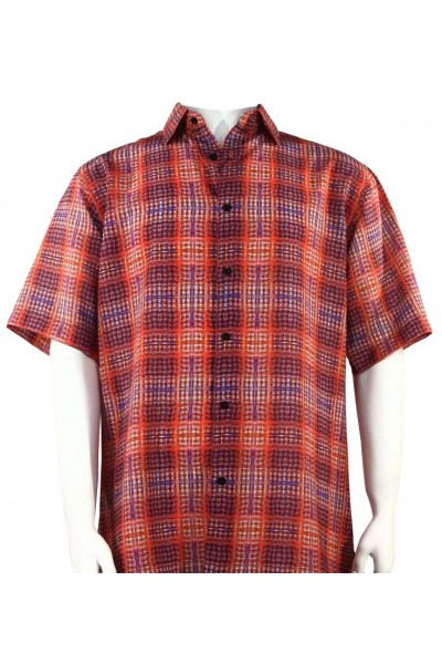 Bassiri S/S Button Down Men's Shirt - Pattern Plaid / Red