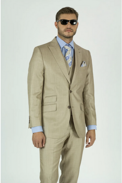 Needle & Stitch Men's 3 Piece Suit - Textured Solid / Beige