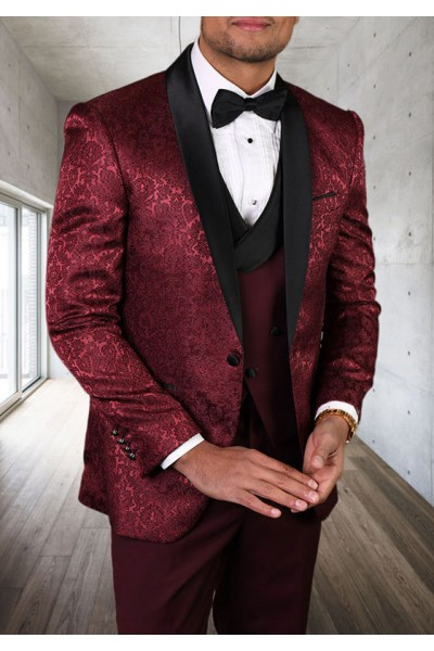 Men's Tux - Tailored Fit - Bellagio-14 Burgundy