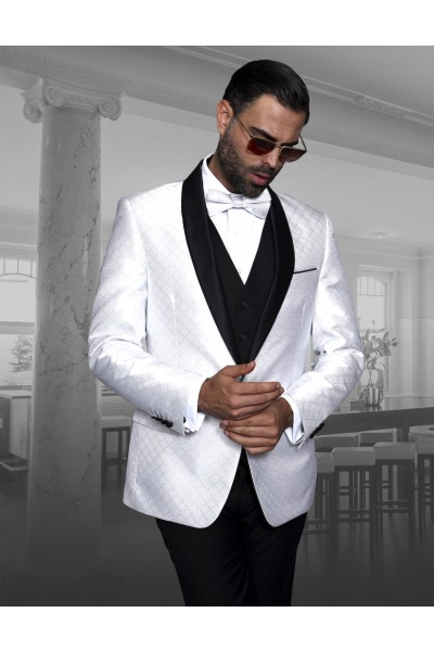 Men's Geometric Pattern Tux by STATEMENT - Bellagio-5 White