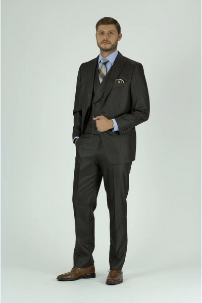 Needle & Stitch Men's 3 Piece Suit - Textured Solid / Brown