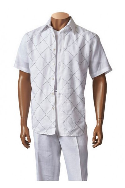 Men's Linen S/S Fashion Shirt by Merc/InSerch - White