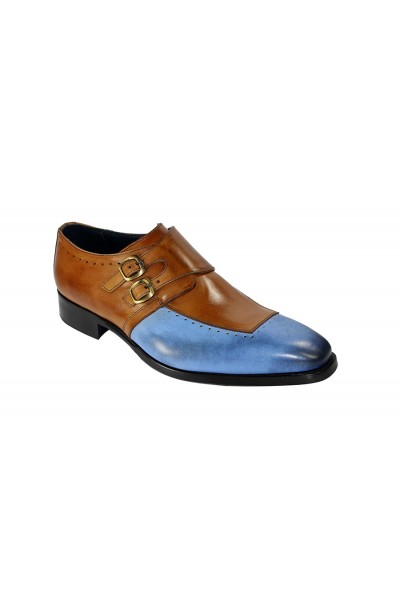 Duca by Matiste Men's Shoes - Made in Italy - Como Lt Blue/Cognac