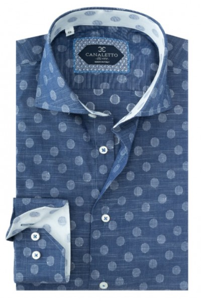 Tiglio / Canaletto L/S Sport Shirt - Denim Blue / Dots a