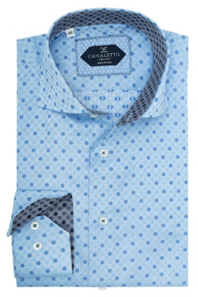 Tiglio / Canaletto L/S Sport Shirt - Blue / Mini Dots a