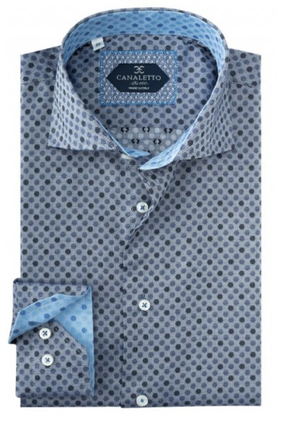 Tiglio / Canaletto L/S Sport Shirt - Grey / Mini Dots a