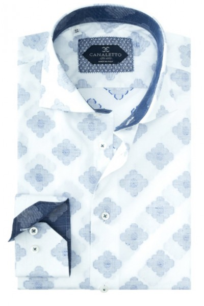 Tiglio / Canaletto L/S Sport Shirt - White / Blue Pattern a