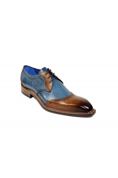 Men's Shoes by Emilio Franco - Cognac/Blue