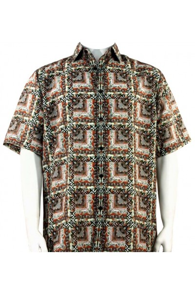 Bassiri S/S Button Down Men's Shirt - Pattern Block / Rust Multi