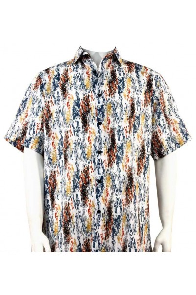 Bassiri S/S Button Down Men's Shirt - Paint Dabs Pattern / Red