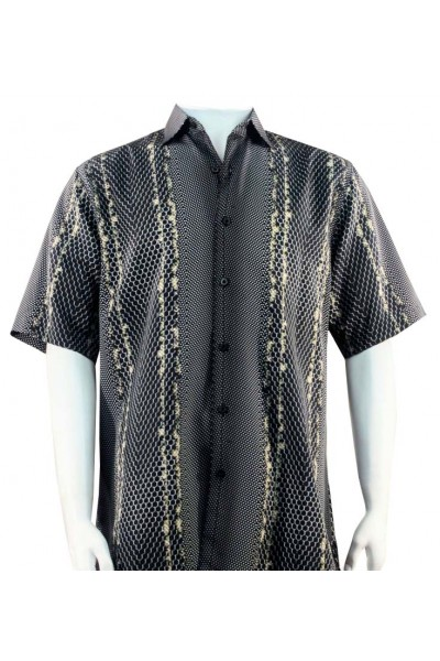 Bassiri S/S Button Down Men's Shirt - Tri Pattern / Black Tan