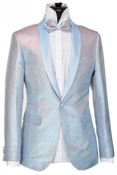 Men's Blazer by Suslo Couture - Lt Blue Shimmer