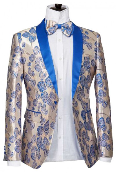 Men's Blazer by Suslo Couture - Leaves / Royal