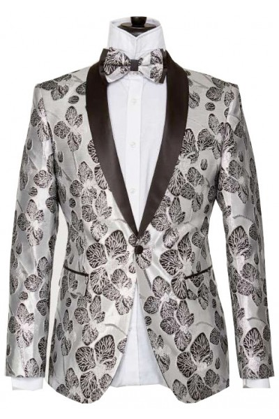 Men's Blazer by Suslo Couture - Leaves / Silver