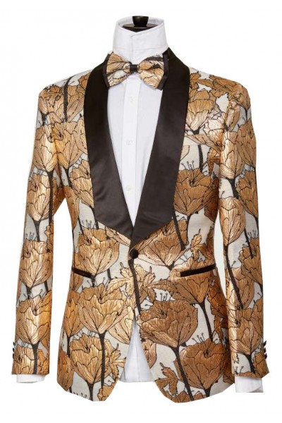Men's Blazer by Suslo Couture - Floral Gold