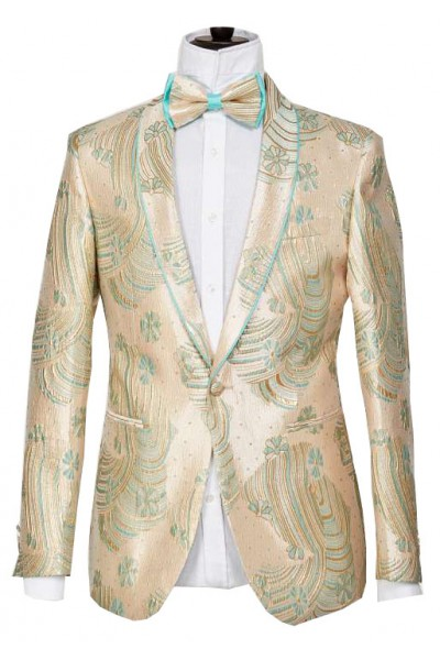 Men's Blazer by Suslo Couture - Pattern / Green