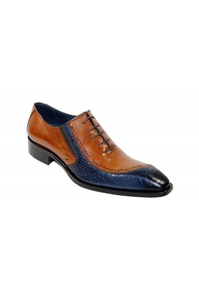 Duca by Matiste Men's Shoes - Made in Italy - Ferrara- Cognac/Navy