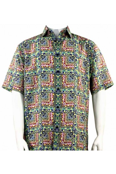 Bassiri S/S Button Down Men's Shirt - Pattern Block / Red Multi