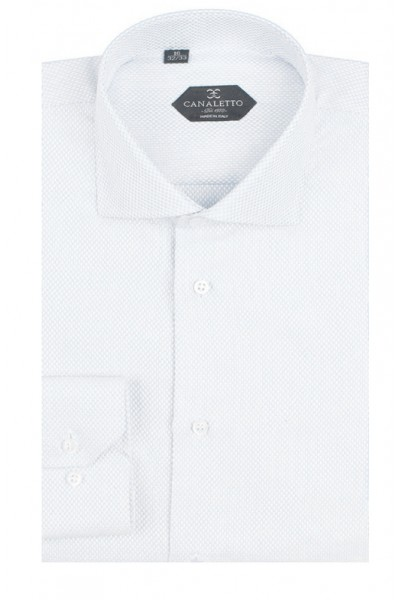 Canaletto Modern Fit Men's Dress Shirt - Made in Italy - Firenze White
