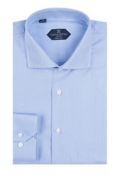 Canaletto Modern Fit Men's Dress Shirt - Made in Italy - Firenze Blue