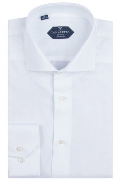 Canaletto Modern Fit Men's Dress Shirt - Made in Italy - Firenze E White