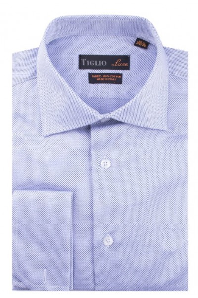French Cuff Men's Dress Shirt by Tiglio - Lt Blue / Texture