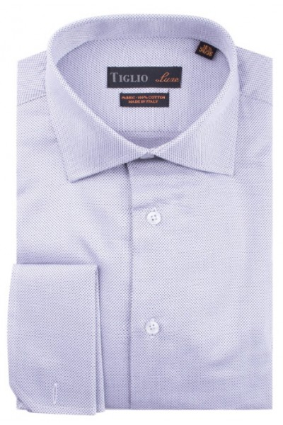 French Cuff Men's Dress Shirt by Tiglio - Lavender / Texture