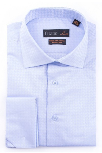 French Cuff Men's Dress Shirt by Tiglio - Lt Blue / Shadow Houndstooth