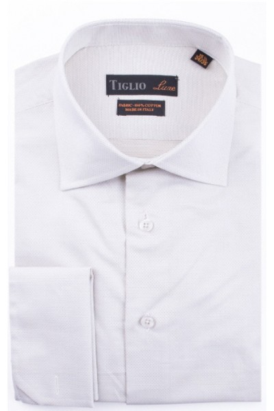 French Cuff Men's Dress Shirt by Tiglio - White / Texture
