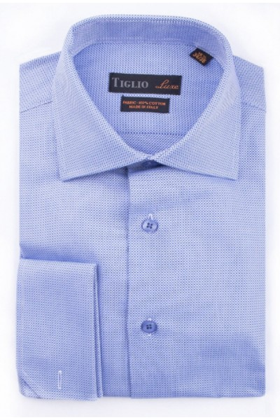 French Cuff Men's Dress Shirt by Tiglio - Blue / Texture