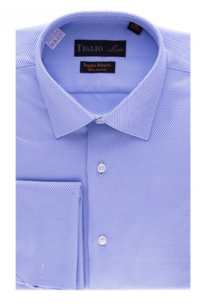 French Cuff Men's Dress Shirt by Tiglio - Blue / Diagonal