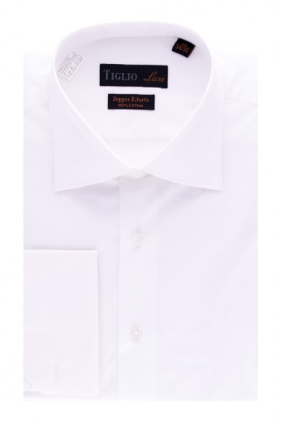 Tiglio Satin Finish Men's Dress Shirt - White