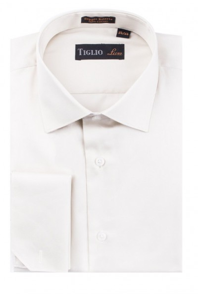Tiglio Satin Finish Men's Dress Shirt - Off White