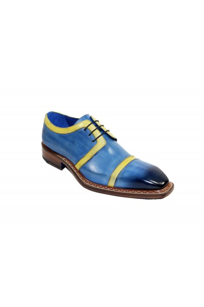 Men's Shoes by Emilio Franco - Blue/Yellow