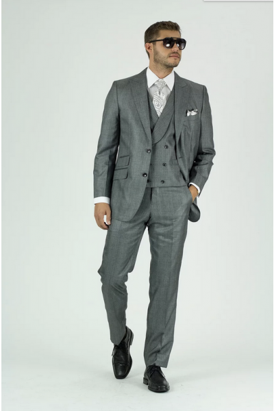 Needle & Stitch Men's 3 Piece Suit - Textured Solid / Grey