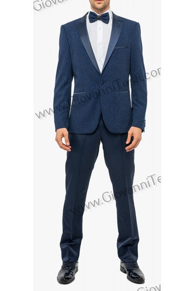 Giovanni Testi Slim Fit Tuxedo Suit - Glitter / Navy a