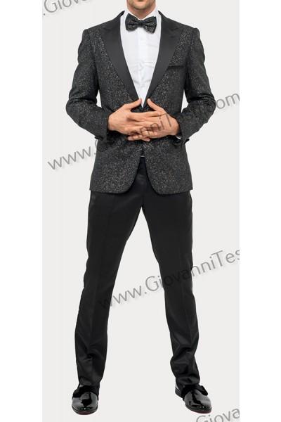 Giovanni Testi Slim Fit Tuxedo Suit - Glitter / Silver B