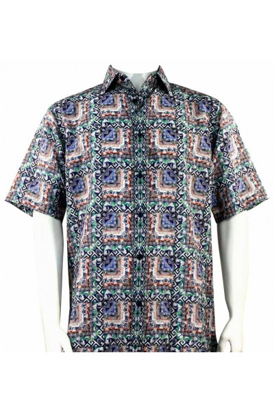 Bassiri S/S Button Down Men's Shirt - Pattern Block / Multi