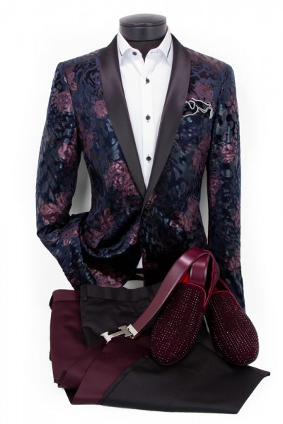 Men's Fashion Blazer by Suslo - Plum / Navy Floral a
